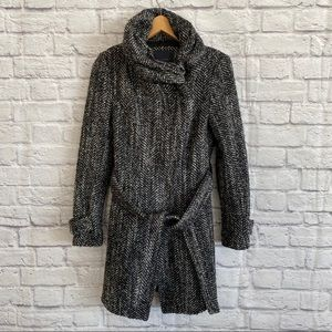 ZARA Wool Blend Coat with High Neck and Belt